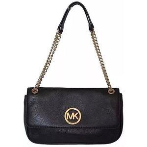 Michael Kors Black Pebble Leather Fulton Flap Bag